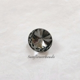 1 Rivoli, runder Glasstein 14 mm - black diamond